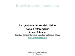 Il servizio idrico in Lombardia