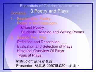 Essentials of Children�s Literature 3 Poetry and Plays