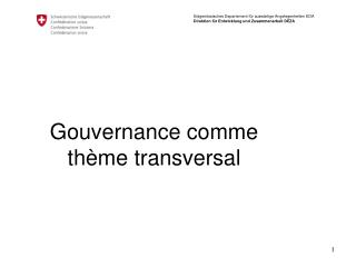 Gouvernance comme th�me transversal