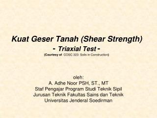oleh: A. Adhe Noor PSH, ST., MT Staf Pengajar Program Studi Teknik Sipil