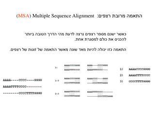 התאמה מרובת רצפים:  ( MSA ) Multiple Sequence Alignment
