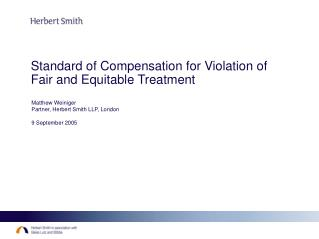 Standard of Compensation for Violation of Fair and Equitable Treatment