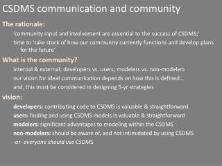 CSDMS communication and community