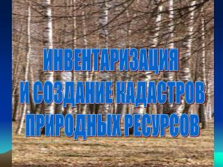 ИНВЕНТАРИЗАЦИЯ  И СОЗДАНИЕ КАДАСТРОВ ПРИРОДНЫХ РЕСУРСОВ