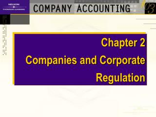Chapter 2         Companies and Corporate Regulation
