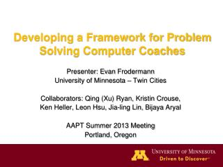 Developing a Framework for Problem Solving Computer Coaches