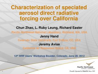 Characterization of speciated aerosol direct radiative forcing over California