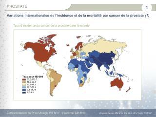 Taux d'incidence du cancer de la prostate dans le  monde