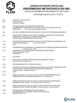 30 de Agosto de 2013 de 8 a 17.00 hs