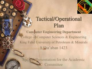 Tactical/Operational  Plan