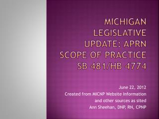 Michigan Legislative Update: APRN Scope of Practice SB 481/HB 4774