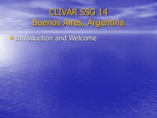 CLIVAR SSG 14 Buenos Aires, Argentina