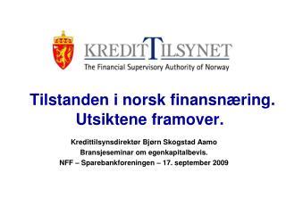Tilstanden i norsk finansnæring. Utsiktene framover.