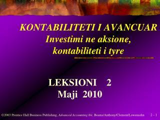 KONTABILITETI I AVANCUAR Investimi ne aksione, kontabiliteti i tyre