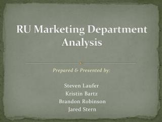 RU Marketing Department Analysis