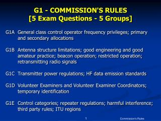 G1 - COMMISSIONS RULES [5 Exam Questions - 5 Groups]