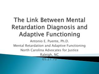 The Link Between Mental Retardation Diagnosis and Adaptive Functioning