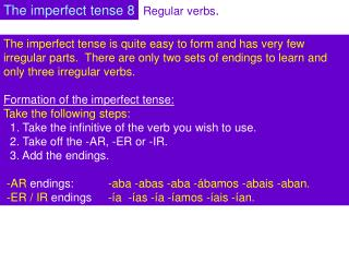 Regular verbs .