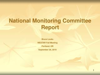 National Monitoring Committee Report