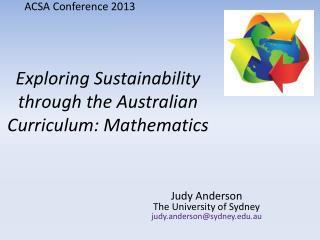 Exploring Sustainability through the Australian Curriculum: Mathematics