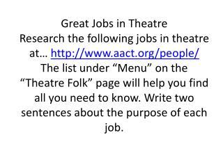 Jobs In Theatre