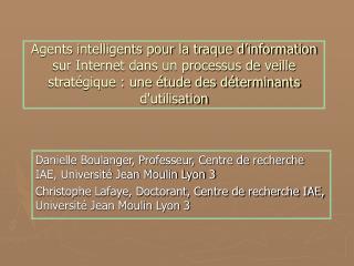 Danielle Boulanger, Professeur, Centre de recherche IAE, Université Jean Moulin Lyon 3