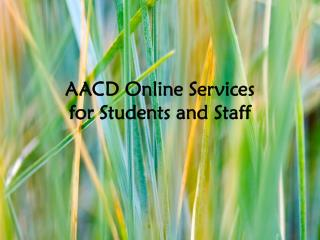 AACD Online Services for Students and Staff