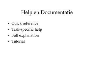 Help en Documentatie