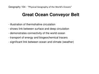 Great Ocean Conveyor Belt  illustration of thermohaline circulation
