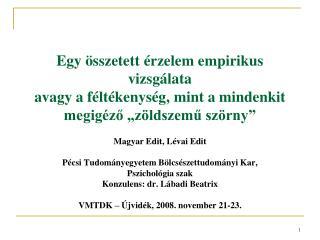 Magyar Edit, Lévai Edit Pécsi Tudományegyetem Bölcsészettudományi Kar, Pszichológia szak