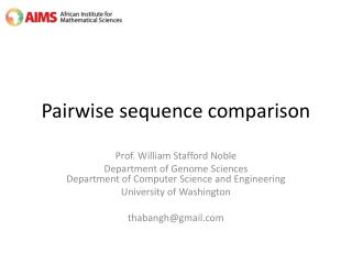 Pairwise sequence comparison