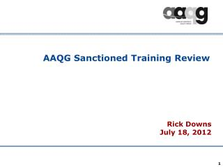 AAQG Sanctioned Training Review