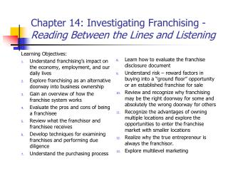 Chapter 14: Investigating Franchising - Reading Between the Lines and Listening