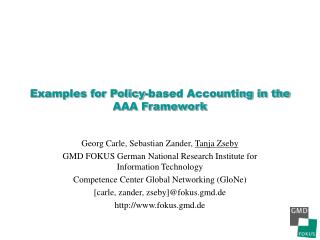 Examples for Policy-based Accounting in the AAA Framework