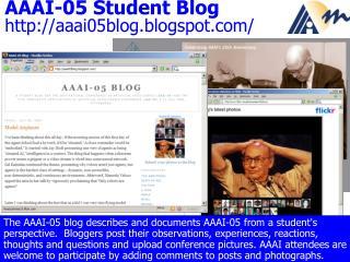 AAAI-05 Student Blog aaai05blog.blogspot/