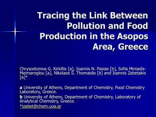 Tracing the Link Between Pollution and Food Production in the Asopos Area, Greece