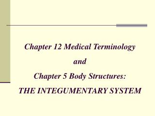 Chapter 12 Medical Terminology and Chapter 5 Body Structures:  THE INTEGUMENTARY SYSTEM