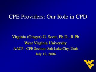 CPE Providers: Our Role in CPD