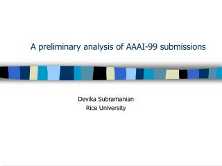 A preliminary analysis of AAAI-99 submissions