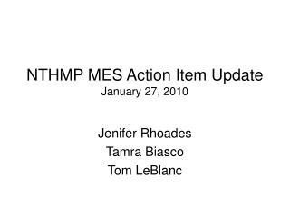 NTHMP MES Action Item Update January 27, 2010