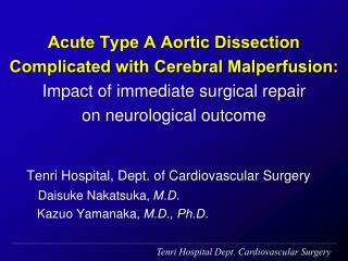 Tenri Hospital Dept. Cardiovascular Surgery