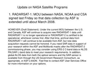 Update on NASA Satellite Programs