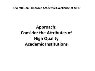 Approach:  Consider the Attributes of  High Quality Academic Institutions