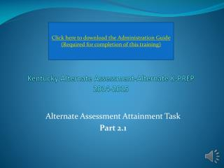 Kentucky Alternate Assessment-Alternate K-PREP 2014-2015