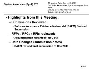 Highlights from this Meeting: Submissions Reviewed: