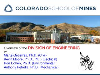 Overview of the  DIVISION OF ENGINEERING by Marte Gutierrez, Ph.D. (Civil)
