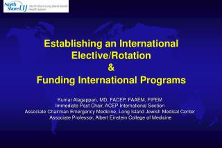 Establishing an International Elective/Rotation & Funding International Programs