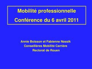 Mobilité professionnelle Conférence du 6 avril 2011