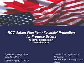 RCC Action Plan Item: Financial Protection for Produce Sellers Webinar presentation  December 2013