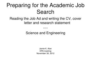 Preparing for the Academic Job Search